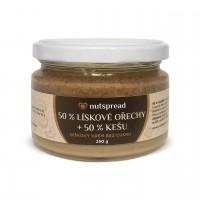100% dvoubarevné oříškové máslo Nutspread: lískový oříšek - kešu 250 g
